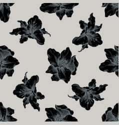 seamless pattern with hand drawn stylized lily vector image
