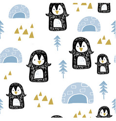 Seamless pattern with penguins in anrarctica vector