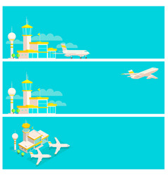 set banners airport terminal and airplane vector image