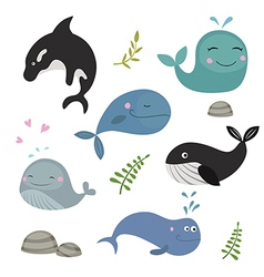 Set funny whales vector image