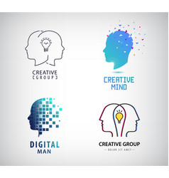 set of creative group teamwork brainstorm vector image