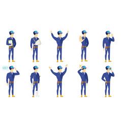 set of mechanic characters vector image