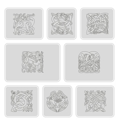 set of monochrome icons with celtic art vector image