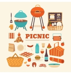 Set of summer picnic vector image