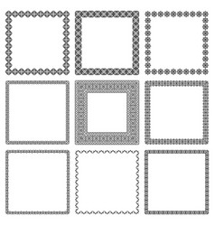 Set square frames with oriental ornament vector