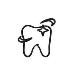 shining tooth sketch icon vector image