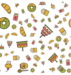 simple food and drink icon seamless pattern vector image