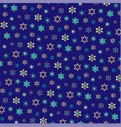 Small jewish stars background pattern on blue vector