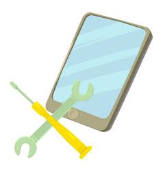 Smartphone repair icon cartoon style vector