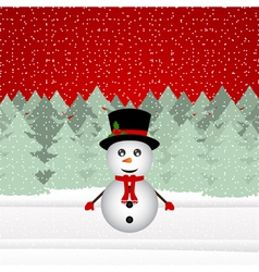 Snowman in a Christmas forest vector image