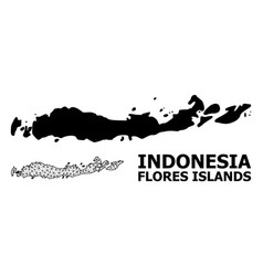 Solid and network map indonesia - flores vector
