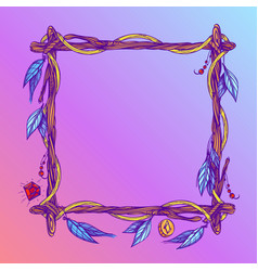 Square frame made of branches with feathers and vector