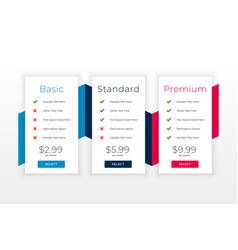 Subscription plans and pricing table web template vector