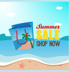 Summer sale poster banner promotion shopping bag vector