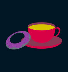 Sweet dessert in flat design cup of tea and donat vector
