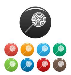 Sweet stick lollipop icons set color vector