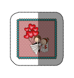 Symbol married couple with red heart bombs vector