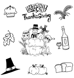 Thanksgiving element doodle art vector