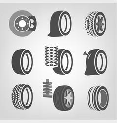 Tire shop icons vector