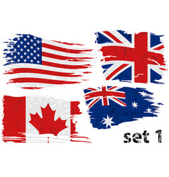 Torn flag set us gb can australia vector