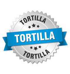 Tortilla 3d silver badge with blue ribbon vector