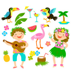 Tropical cartoon set vector