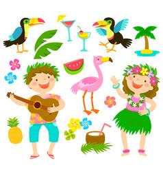 tropical cartoon set vector image