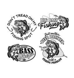 Vintage largemouth bass fish fishing logos vector
