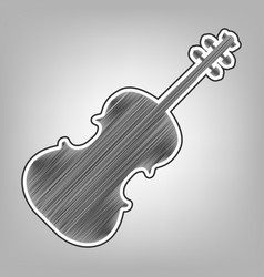Violin sign pencil sketch vector