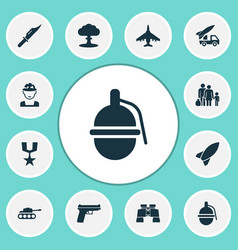 Warfare icons set collection of ordnance glass vector