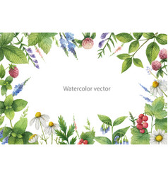 Watercolor hand painted floral frame with vector