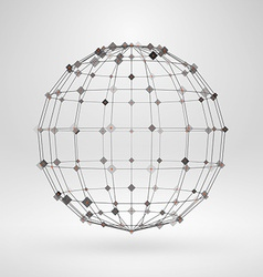 Wireframe polygonal element 3D sphere with lines vector