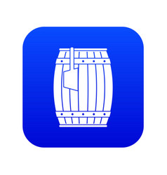 Wooden barrel with ladle icon digital blue vector