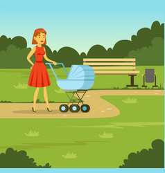 young mother walking with baby carriage in the vector image