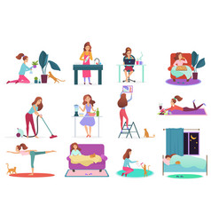 Young woman home activities set girl watering vector