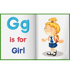 A picture of a girl in a book vector image vector image