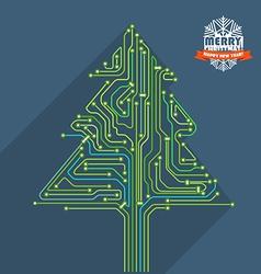 Abstract christmas tree metro scheme vector image