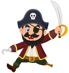 Cartoon pirate holding dagger vector image
