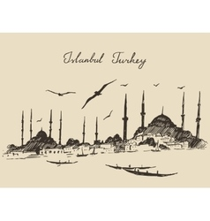 Istanbul Turkey Vintage Engraved Sketch vector image