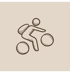 Man riding bike sketch icon vector image