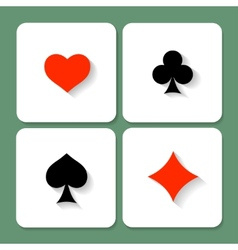 Set of playing card symbols with shadows vector image