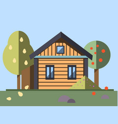 house whith garden in flat style vector image vector image