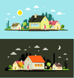 night and day flat design city with houses vector image vector image