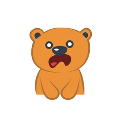 Cute bear astonished vector