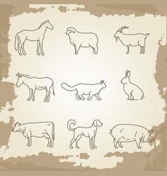 farm animals thin line icons vector image vector image