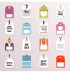 Sale Price Labels Icons Set Text Tag Symb vector image