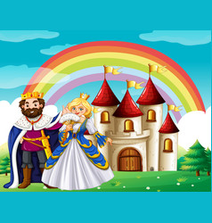 scene with king and queen at the palace vector image vector image