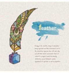 Sketch of decorative feather vector image vector image