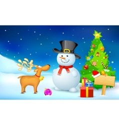 Snowman and Reindeer in Christmas Night vector image vector image