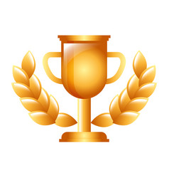 trophy winner award with laurel decoration vector image